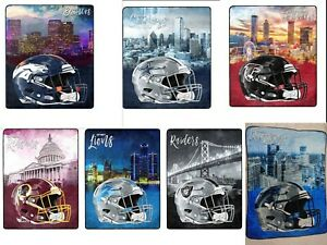 """NEW NFL Officially Licensed Watercolor Cityscape Fleece Throw Blanket 60"""" X 80"""""""