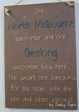 North Melbourne Kangaroos & Geelong Cats Supporters Couples Footy Sign