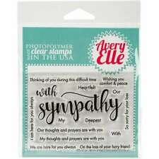 "Avery Elle Clear Stamp Set 4""X3"" With Sympathy 811568024137"