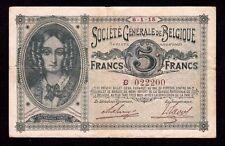 Belgium, 5 Francs 1915, P-88 * Nice Number * 022200 * Rare *