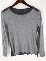 Madewell Women's Size Small Gray Long Sleeve Tee Shirt Cotton