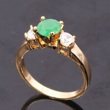 Size 8  Emerald Crystal 18K Yellow Gold Plated Ring Fashion Jewelry For Women
