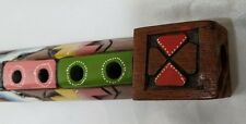 Painted Wood Carved Flute / Recorder Folk Art