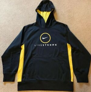 NIKE Livestrong Therma-Fit Pullover Hoodie Sweatshirt Black w/ Yellow YouthLarge