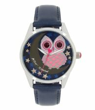 New Womens Betsey Johnson Stainless Steel Owl Navy Band Watch BJ00495-31 $69