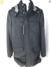 Tommy Hilfiger NWT Men's Modern-Fit Charcoal Black Snowden Full Zip Heavy Coat