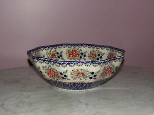 Polish Pottery Medium 10-Sided Bowl! UNIKAT Signature Exclusive Zoey Pattern!