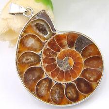 Vintage Genuine Unique Ammonite Fossil Gemstone Silver Necklace Pendant 2 Inch