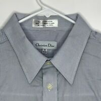 Christian Dior Mens Designer French Cuff Shirt Blue Striped 17 34/35