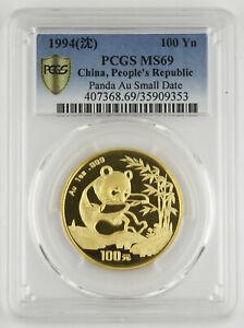 China 1994 100 Yuan 1 Oz 999 Gold Panda Coin PCGS MS69 GEM Small Date SEMI-KEY
