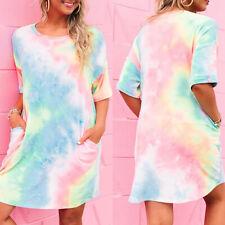 Mini Dress Summer Beach T-Shirt Pocket Sundress Tie-Dye Short Shirt dress