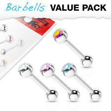 4pc Value Pack Gem Ball Steel Tongue Rings 14g Tounge Body Jewelry