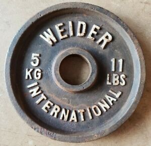 One Single WEIDER INTERNATIONAL Weight Plate 11 LBS (5 kg) Olympic Vintage kilo