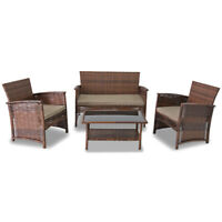 NEW! 4 PIECE WOVEN WICKER PATIO SET - RATTAN CHAIRS + SOFA & GLASS TOP TABLE SET