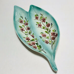 """Ceramic Footed Spoon Rest, Dish Green Floral Decor 12.5""""x6""""x2"""" Cottage Farmhouse"""