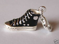 SOLID SILVER + BLACK ENAMEL CONVERSE BOOT ALL STAR TRAINER SNEAKER CHARM PENDANT
