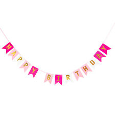 Happy Birthday Girlande Banner 2m - Pink Rosa Weiß Gold - Geburtstag Party Deko