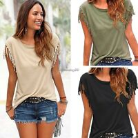 Fashion Women Tassels Short Sleeve Loose T-Shirt Lady Summer Casual Tops C1MY