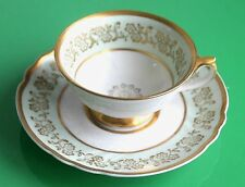 Art Deco Swedish Porcelain Gilt & Green Coffee Cup & Saucer Set c.1930
