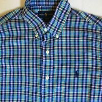 Ralph Lauren Mens Slim Fit Blue Green Multicolor Plaid Check L/S Shirt Small S