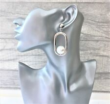 Large Rectangle Hoop Dangle Drop Earrings with Large Faux Pearl