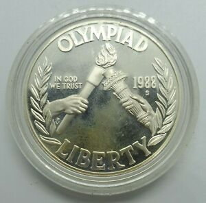 1988-S Olympiad Liberty SILVER PROOF DOLLAR $1 USA Rings 1988 Coin Olympic