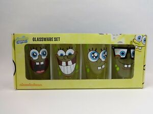 RARE! NICKELODEON SPONGEBOB SQUAREPANTS GLASSWARE SET OF 4 FOUR 16 OZ GLASSES