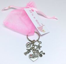Baby Shower Girl keyring Pregnancy Gift Mum to be tag favour christening