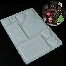 Cute 3D Christmas House Fondant Chocolate Mould Decor Cake Cutter Plastic Mold