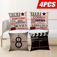4 pcs Linen Cushion Cover Sofa Car Home Movie Theater Cinema Throw Pillow Case !