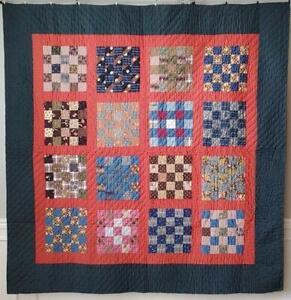 Fantastic Fabrics! Crisp Antique Civil War Era c1860 PA Red & Indigo Blue QUILT