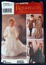 Simplicity 5909 Kids Renaissance Wedding Costume Pattern Sz 3-8 UCFF Dress Tunic