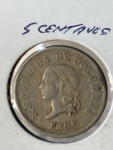 1886 COLOMBIA 5 CENTAVOS COIN