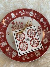 "222 Fifth Tivoli Red Appetizer Dessert Plates 6.25"" Set of 8 Christmas Holidays"