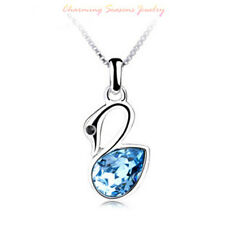 925 Stirling Silver 18K W Gold P Swarovski Crystals Pendant Necklace RRP:$59