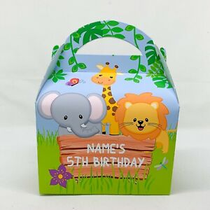 Jungle Animals Children's Personalised Party Boxes Baby Shower Favours Gift Bags