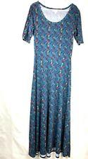 LuLaRoe Ana Women's Maxi Dress vintage Key Print Size L Blue Short Sleeve 00P