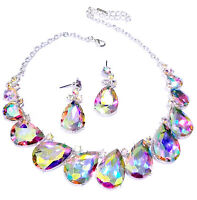 Necklace Earring Set Rhinestone Crystal Pageant Drag Queen Bridal AB Statement