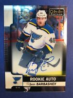 2017-18 OPC Platinum Rookie Auto #R-IB Ivan Barbashev St Louis Blues RC Auto
