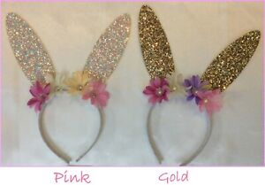 Easter Bunny Glitter Ears Headband w Flowers Gold OR Pink - Peter Rabbit Party