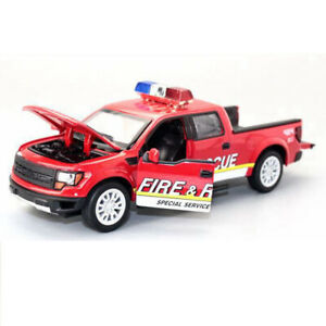 1:34 Ford F-150 Pickup Truck Fire Rescue Toy Car Model Diecast Sound Light Cars