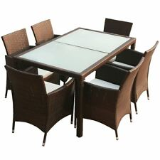 7piece Outdoor Patio Rattan Wicker Furniture Garden Dining Set W/ Cushions  Brown