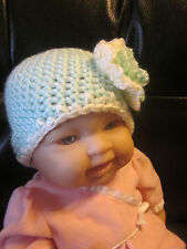 Hand crocheted girls newborn hat- Mint and cream baby hat