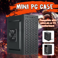 Micro ATX Black USB 2.0 Gaming PC Case Blue LED Ring Fan Tempered Glass Panels Z
