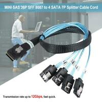 MINI SAS 36P SFF to 4 SATA 7P 12Gbps Hard Drive Data Splitter Cable Cord Adapter