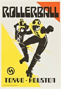 "ROLLERBALL repro Match poster Bob Peak art 30x20"" Tokyo Houston rare FREE P&P"