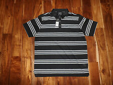 NWT Mens ADIDAS Striped Polo Black Gray Shirt Size XL X-Large $60