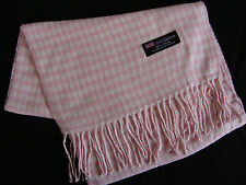 100% Cashmere Winter Scarf Scarve Scotland Warm Houndstooth Pink Wrap Shawl NEW