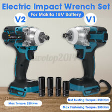 "1/2"" 520N·m Cordless Brushless Electric Impact Wrench Set For Makita 18V"