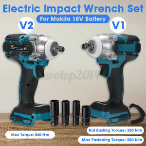 """1/2"""" 520N·m Cordless Brushless Electric Impact Wrench Set For 18V Makita Battery"""